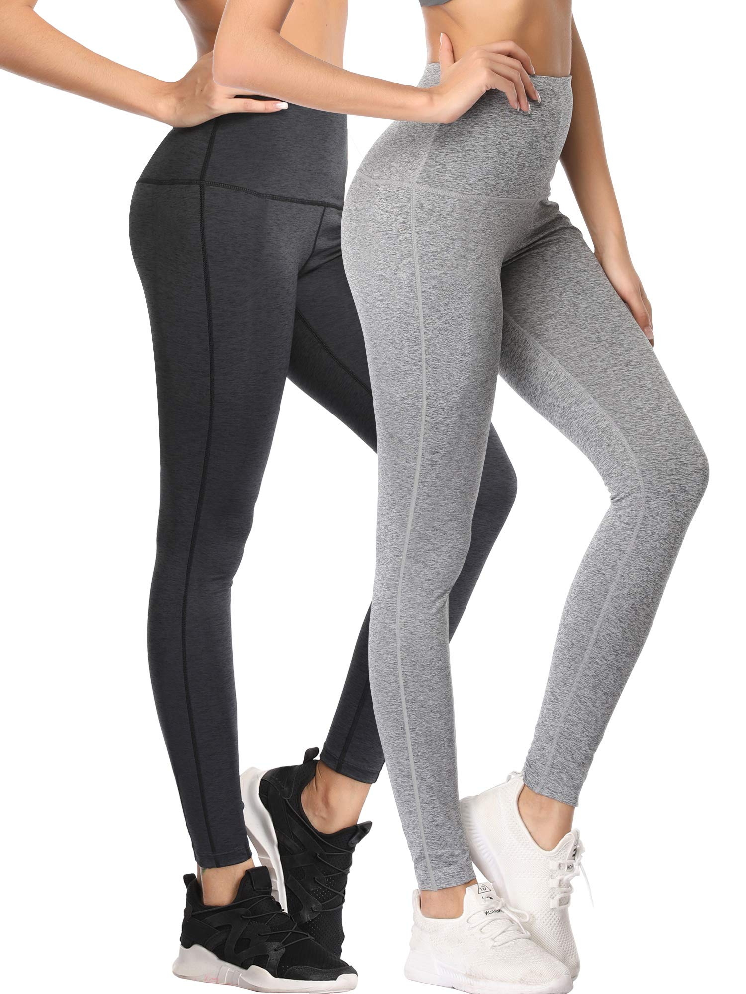 Cadmus Tummy Control Workout Leggings for Yoga Womens,1101,Dark Grey & Gray,Small