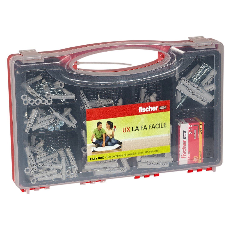 Fischer Kit Easy Box 252 pezzi, Tasselli con Ganci e Viti Assortite per Fissaggio su Muro Pieno e Mattone forato, 513433