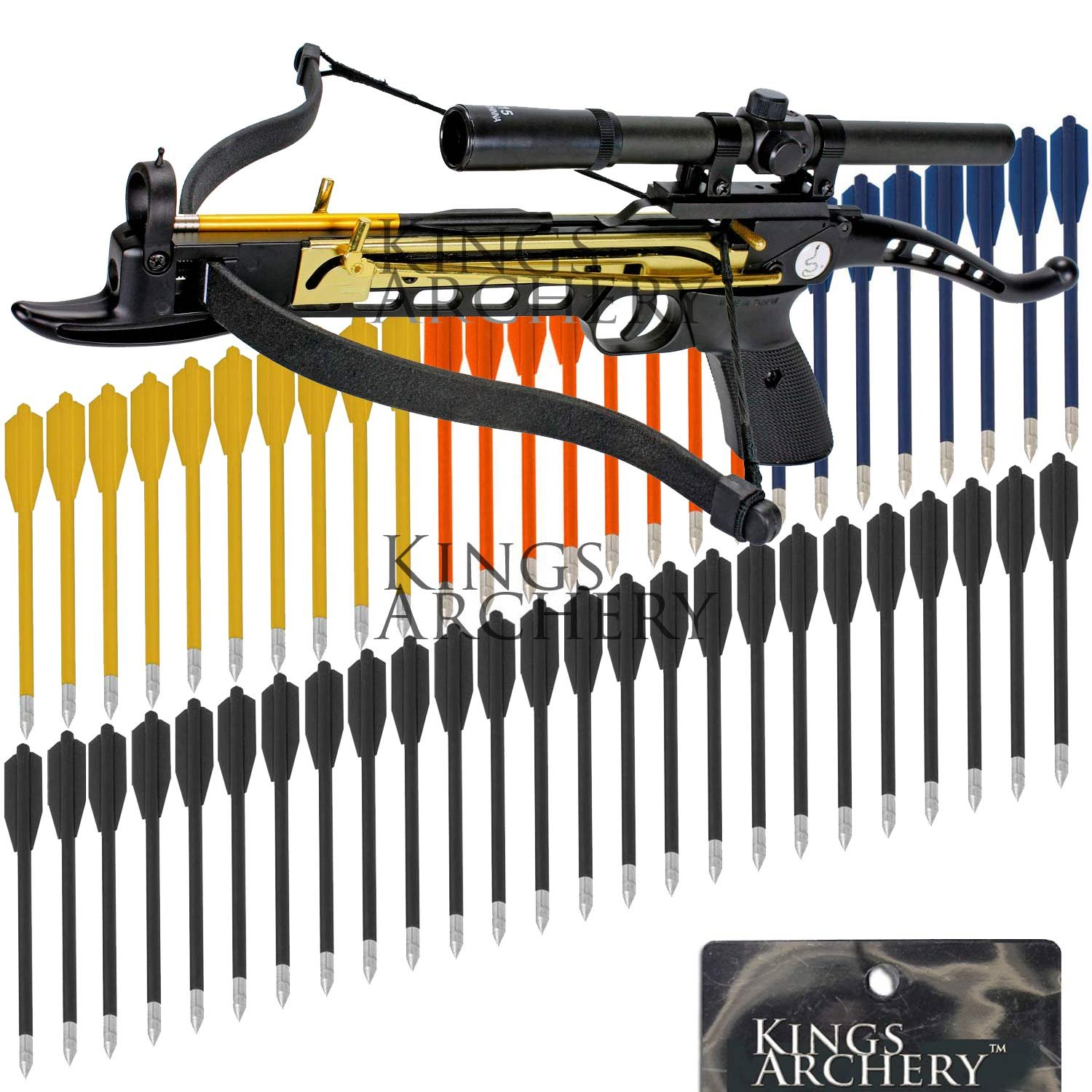 Crossbow Self-Cocking 80 LBS by KingsArchery® with Hunting Scope, 3 Aluminium Arrow Bolts, and Bonus 60-pack of Colored PVC Arrow Bolts + KingsArchery® Warranty
