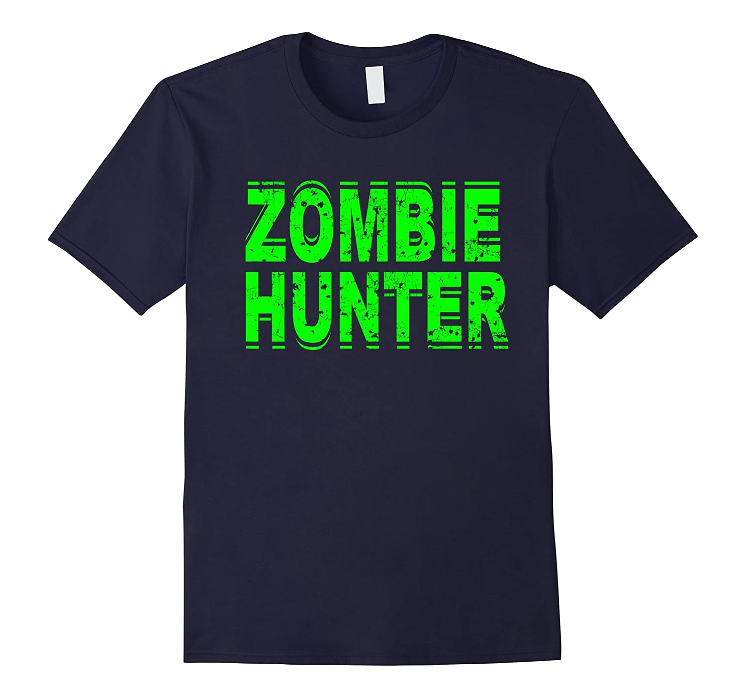 Zombie Hunter T Shirt Scary Halloween Green-FL