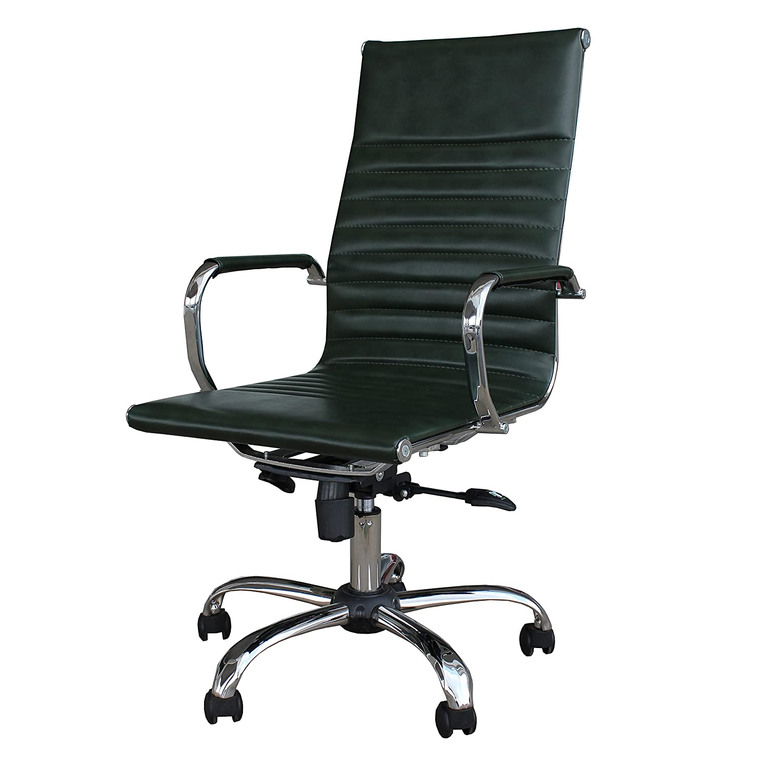 Winport Furniture WF-7911 Elegance High-Back Leather Swivel Office & Home Desk/Task Chair, Black