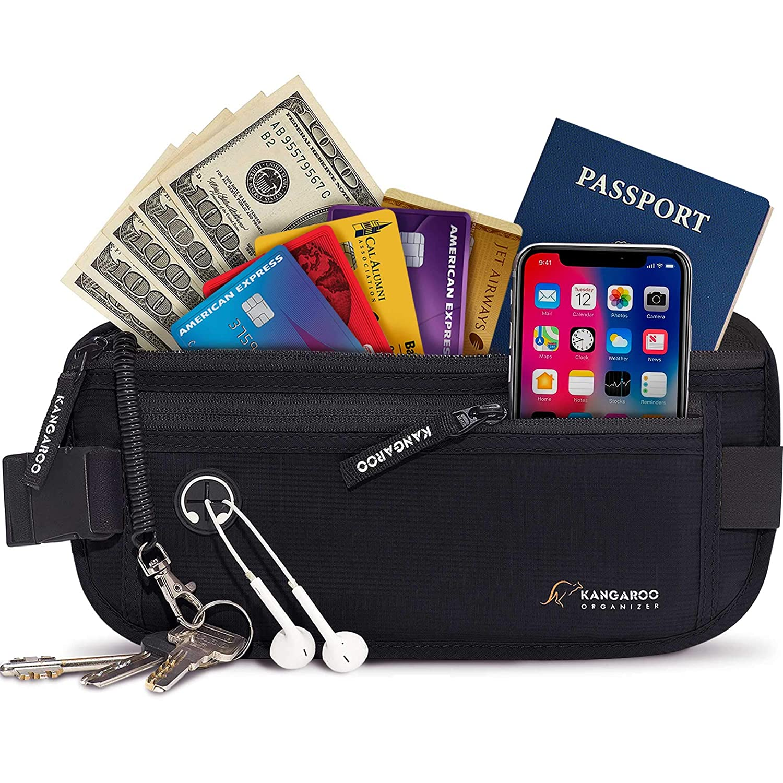 Premium Money Belt for Travel - RFID Blocking Hidden Wallet with Coil Cord Keychain (Black)