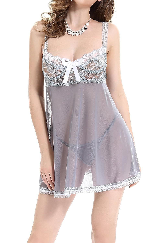 Blidece Women's Lace & Sheer Net Lingerie Sleepwear With G-String BLQ0073