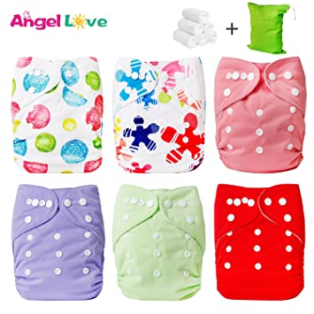 Cloth Diapers, Angel Love 6 Pack Diaper Covers+6 Diaper Inserts+1 Wet