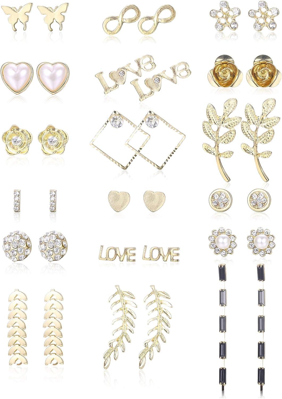 CASSIECA 18 pares de Aretes Múltiples Surtidos para Mujeres Niñas Pendiente de Geometría Simple Hoja de Mariposa Flor de Rosa Corazón de Amor CZ Aretes Joyería de Moda