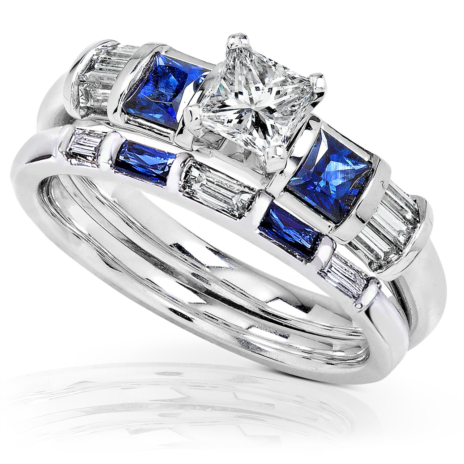Blue Sapphire & Diamond Wedding Rings Set 1 Carat (ctw) In 14k White Gold