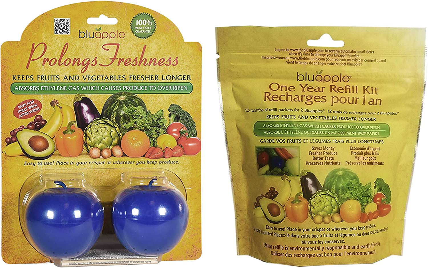 Bluapple Blue Produce Freshness Balls Fresh Extender + One-Year Refill Kit 15 Months Pack Absorb Ethylene Gas