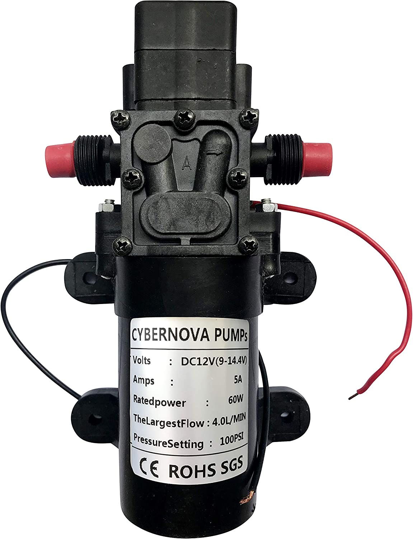 CYBERNOVA DC12V 100PSI 4.0L/m Fresh Water High Pressure Diaphragm Self Priming Pump with Pressure Switch Caravan/Boat/RV/Garden//Vehicle Cleaning/Motorhome