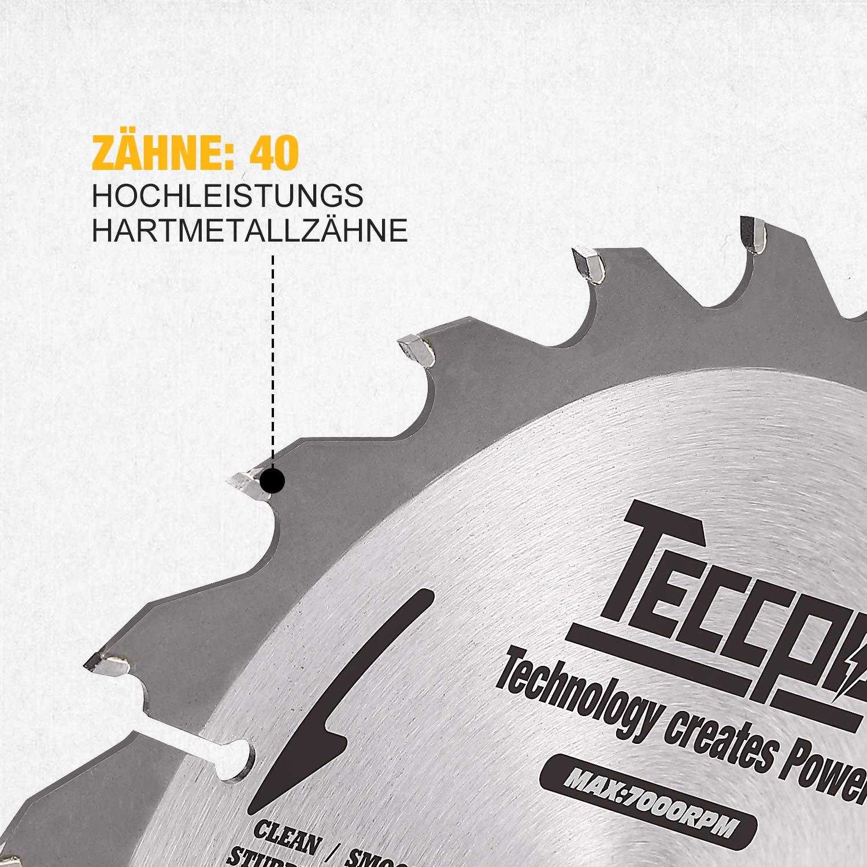 Kompatibel mit dem meisten Marken von Gehrungss/ägen und Kreiss/ägen TCT 40 Z/ähne S/ägebl/ätter Professionelle Hartmetall Kreiss/ägebl/ätter Set TACB24A Ideal f/ür Holz TECCPO 185mm x 20 mm 2-teilig
