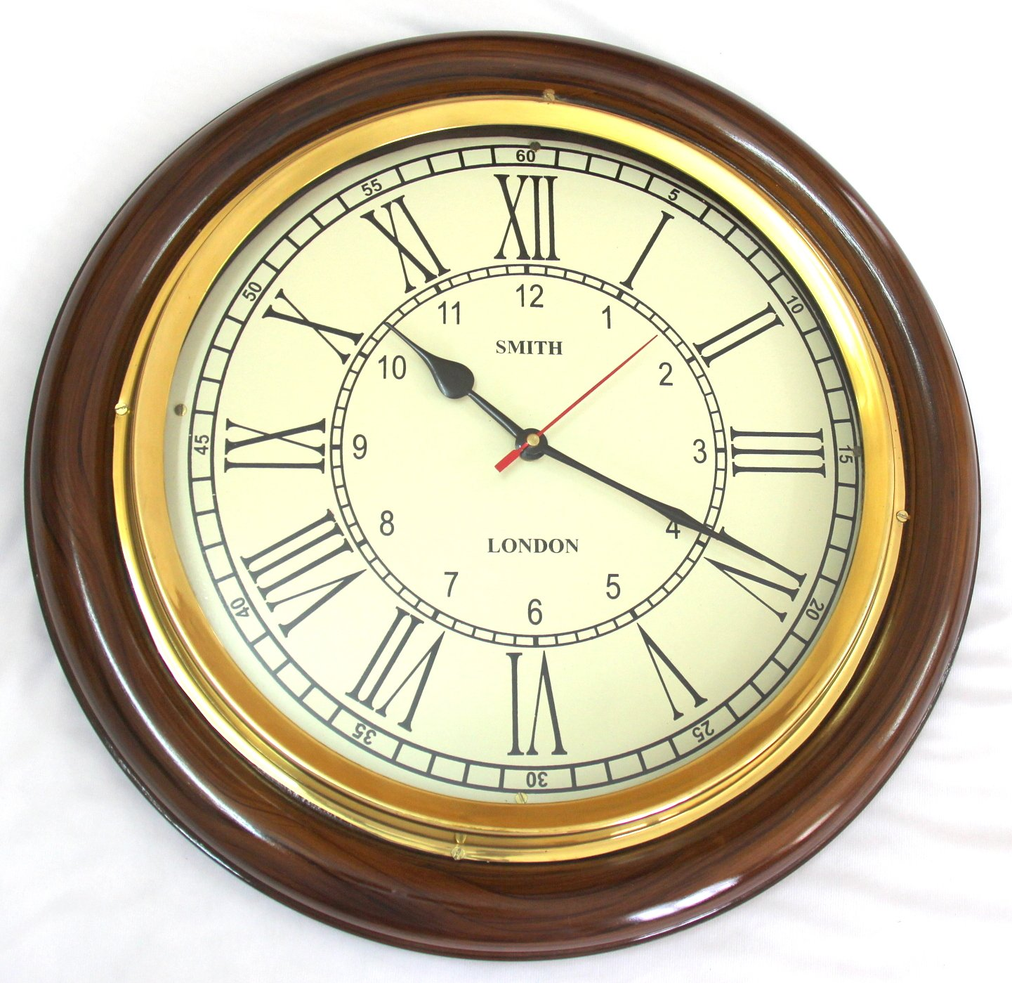 Buy artshai 16 inch big wall clock for living room and office buy artshai 16 inch big wall clock for living room and office antique look brass and wooden roman numbering online at low prices in india amazon amipublicfo Gallery