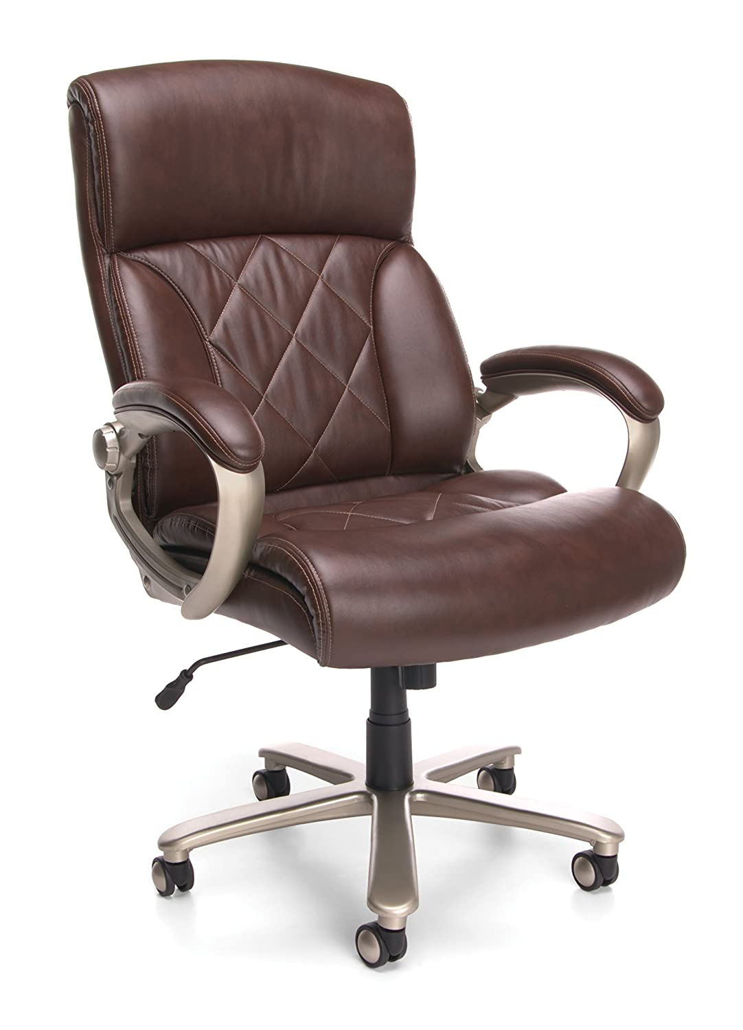OFM Avenger Series Big and Tall Leather Executive Chair – Brown Leather Computer Chair with Arms 812-LX
