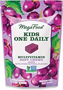 MegaFood, Kids Multivitamin Soft Chews, Daily Supplement, Supports Child Development and Growth, Gluten-free, Vegetarian, Grape, 30 Chews (30 servings)