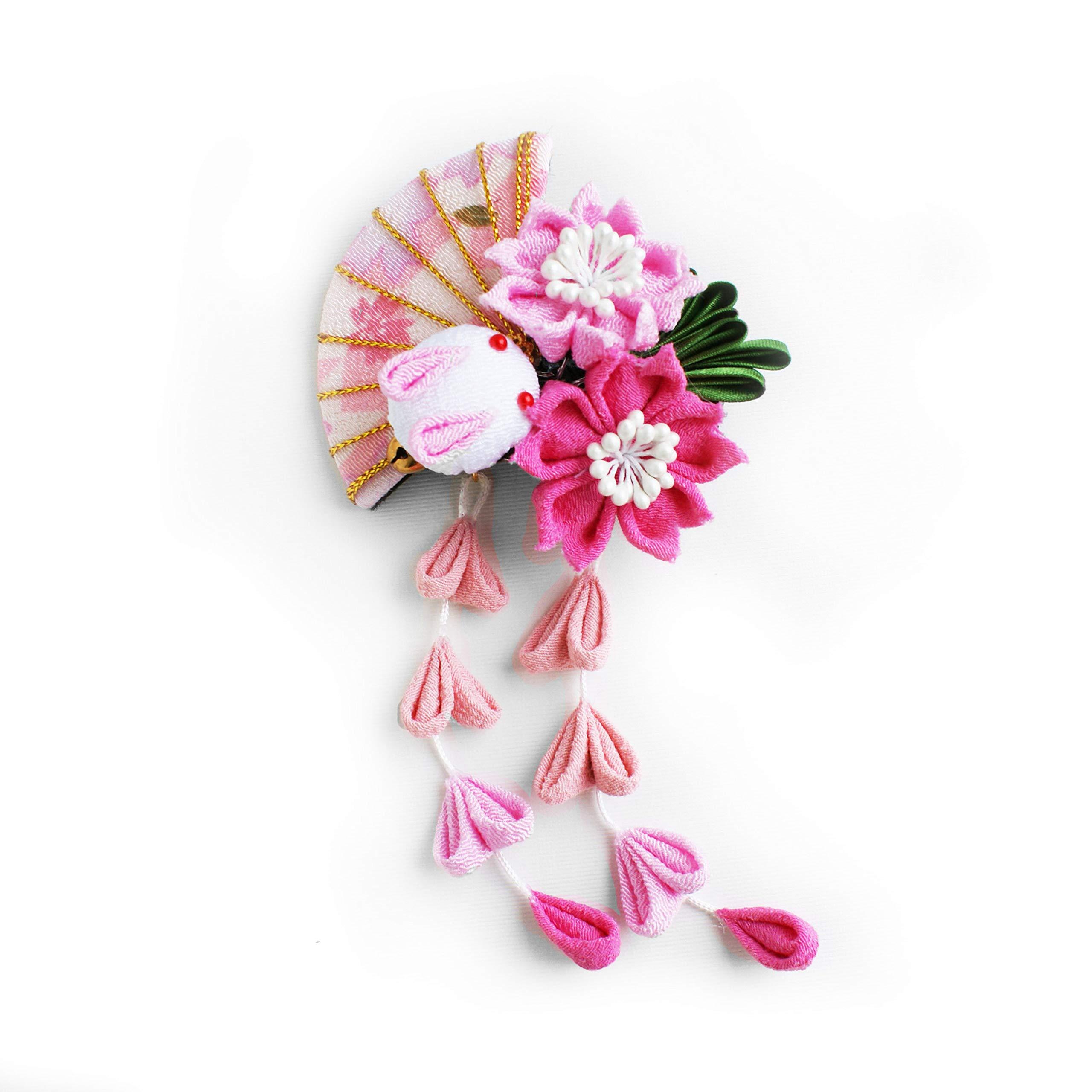 Japanese Kimono Kanzashi Hair Accessory, Cherry Blossom Moon Bunny and Fan Hair Clip, Tsumami Kanzashi Hair Piece, Kawaii Hair Piece for Yukata and Kimono (Pink)