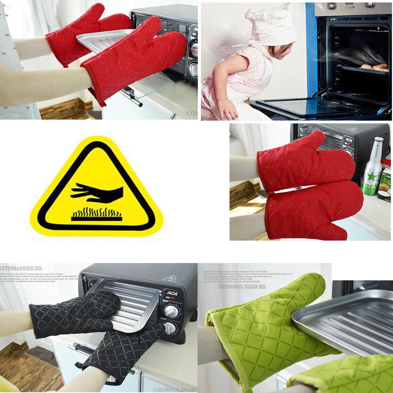 YOBOKO Gants de Four De Haute Quality Chaleur R/ésistants Gants//Handler de la Surface Chaude//Four Mitt//Flexible Gants pour Barbecue avec de Longues Poignets