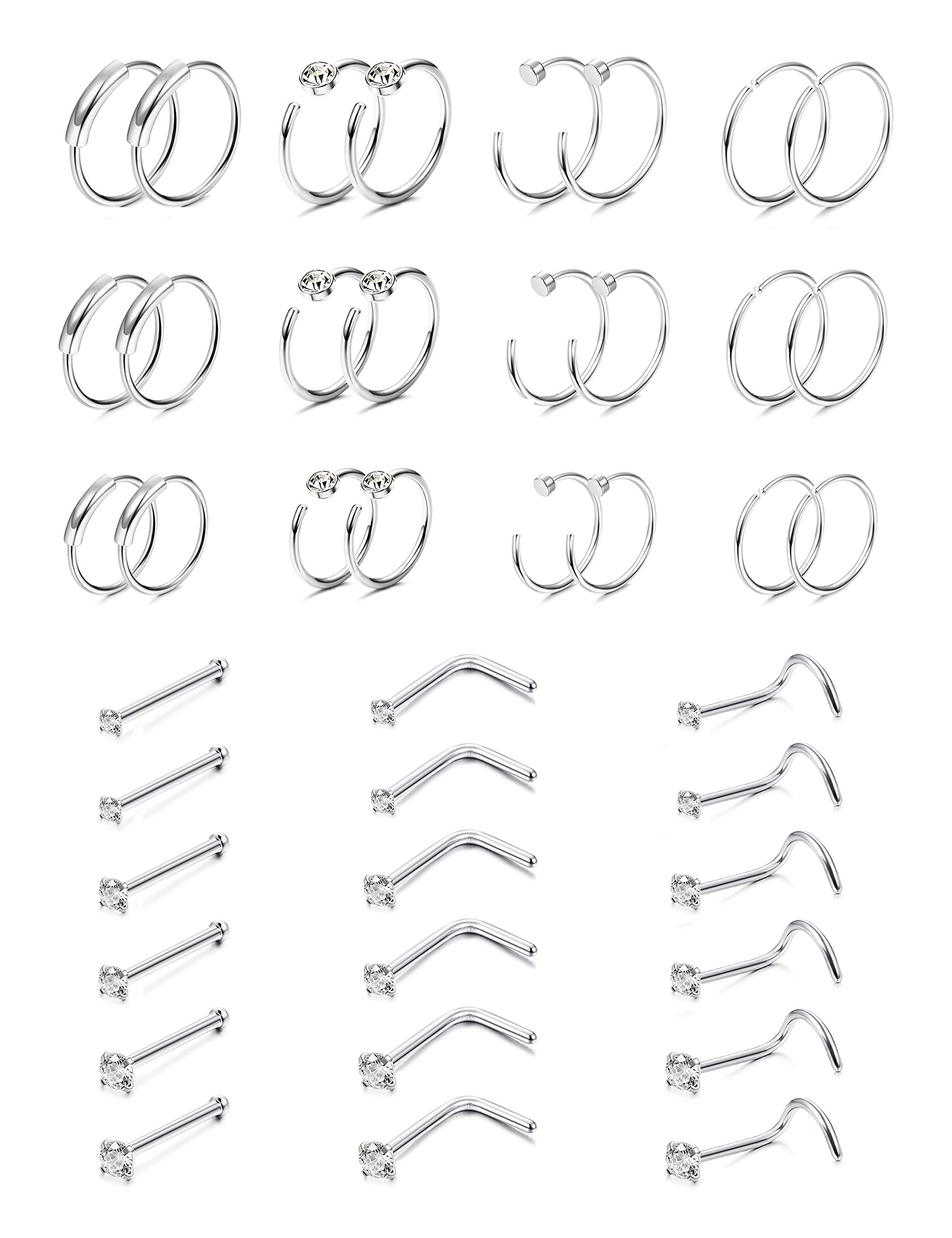 FUNRUN JEWELRY 42PCS 22G Stainless Steel Nose Ring Hoop CZ Nose Stud Piercing L Screw Bone Shaped by FUNRUN JEWELRY