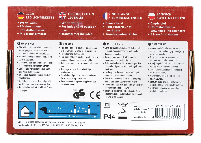 Idena LED Lichterkette Mit Timerfunktion, 120er Warm Weiß, Für Außen,  8325097: Amazon.de: Beleuchtung