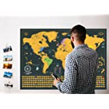 Scratch Off World Map XL Edition + Premium Scratch Off USA Map - Gift Bundle Includes 2 Scratch Off Maps, Precision Scratch Tool and Travel Memory Stickers