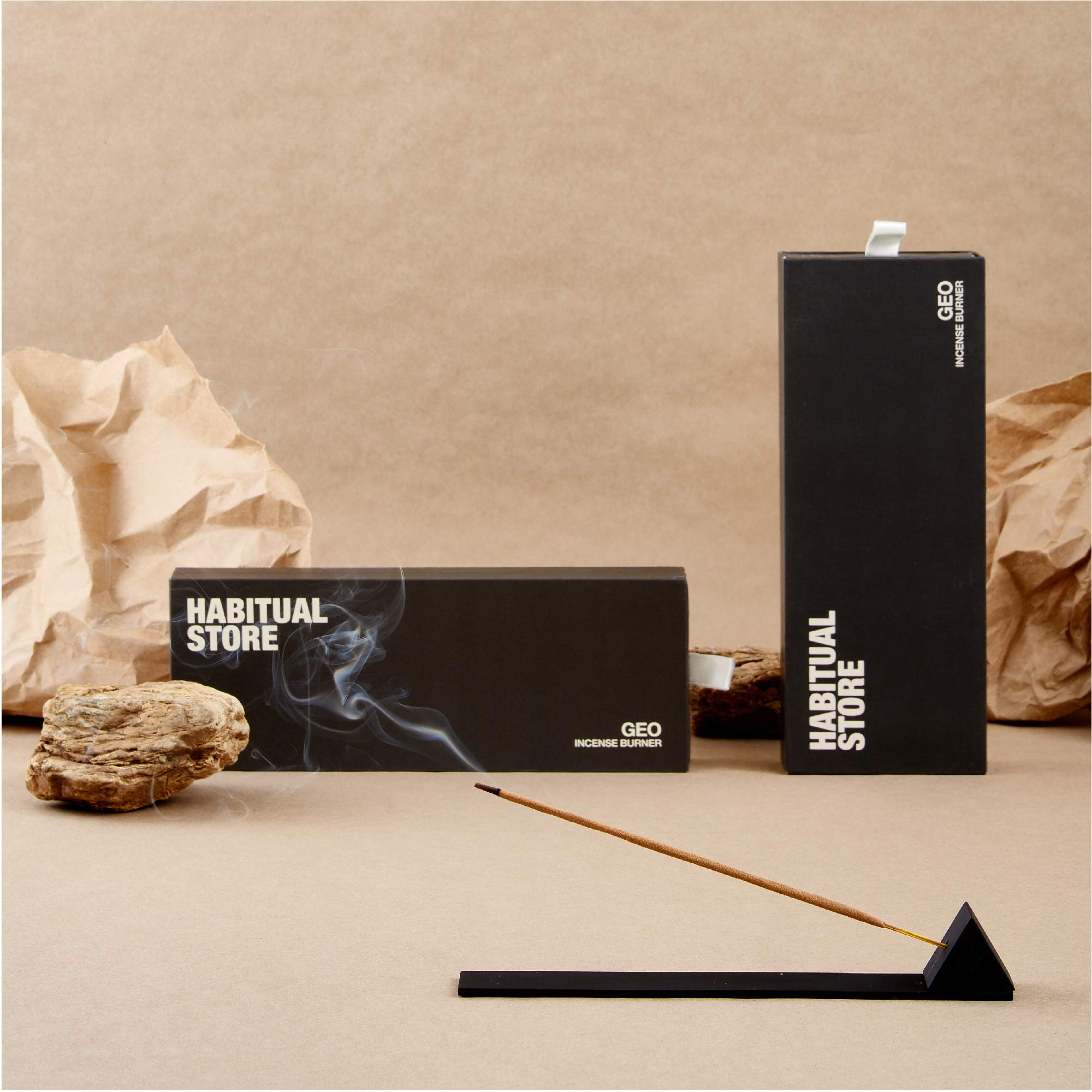 HABITUAL STORE Incense Burner Holder and Tray, Modern Prism Design, Matte Black - Metal Incense Burning Set with Ash Catcher for Sticks - Stylish Meditation and Yoga Accessories, Gift Set for Women by HABITUAL STORE (Image #6)