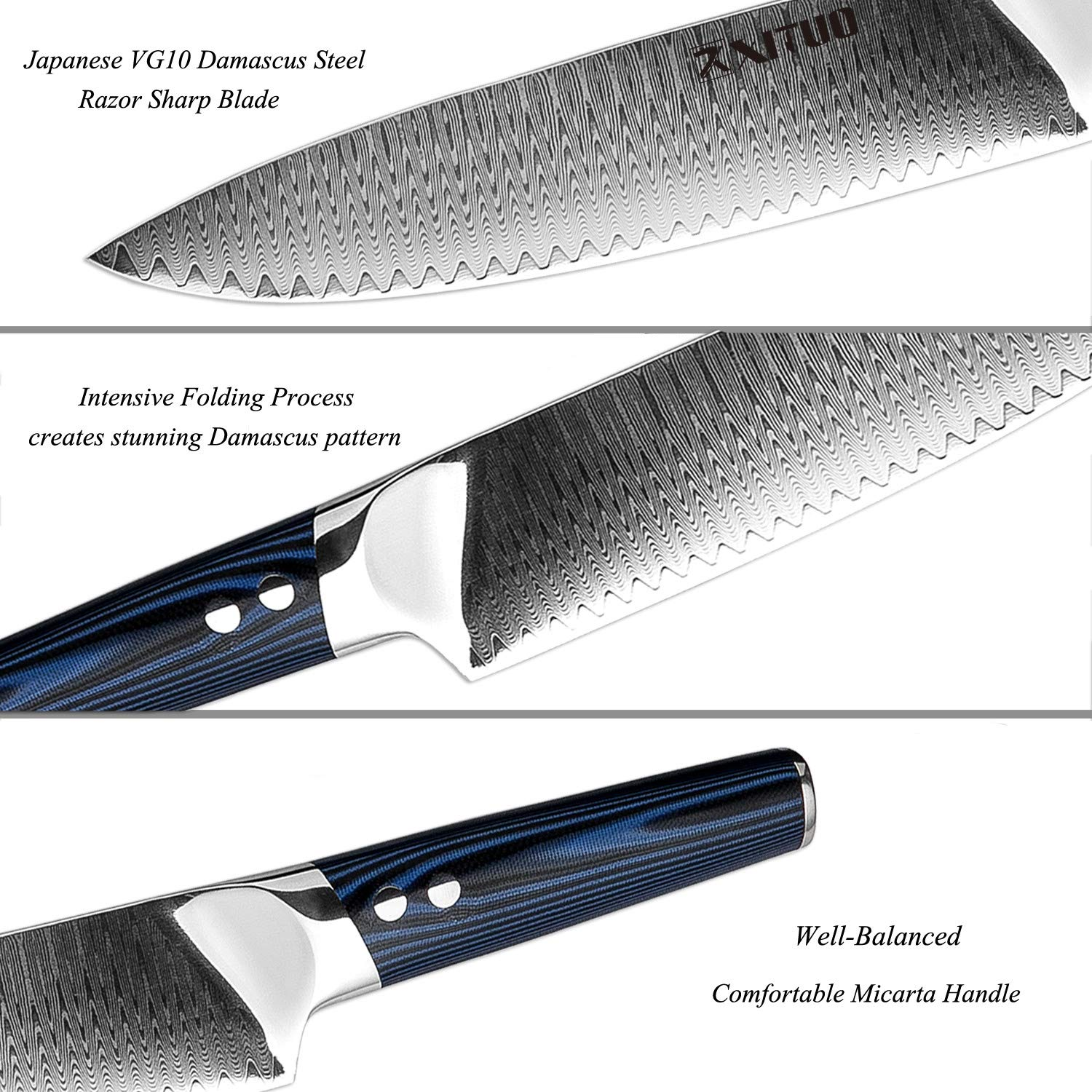 XITUO 8-inch Chef Knife Japanese VG 10 High Carbon Damascus Stainless Steel Kitchen Knife with Ergonomic Micarta Handle and Razor Sharp Blade For Dealing Meat, Fruits and Vegetables by XITUO (Image #2)