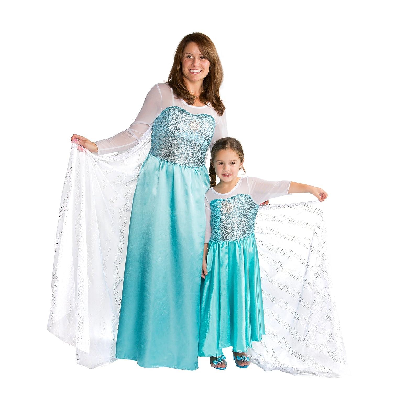 Women Adult Frozen Elsa Costume Snow Queen Ice Princess Dress Party ...