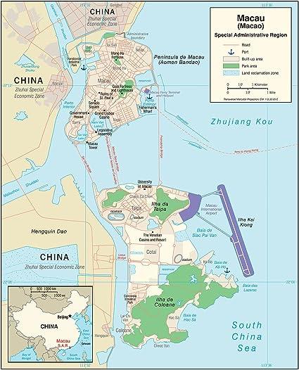 Macau On World Map.Amazon Com Map Poster Macau Administrative Map 19 5 X24 Posters