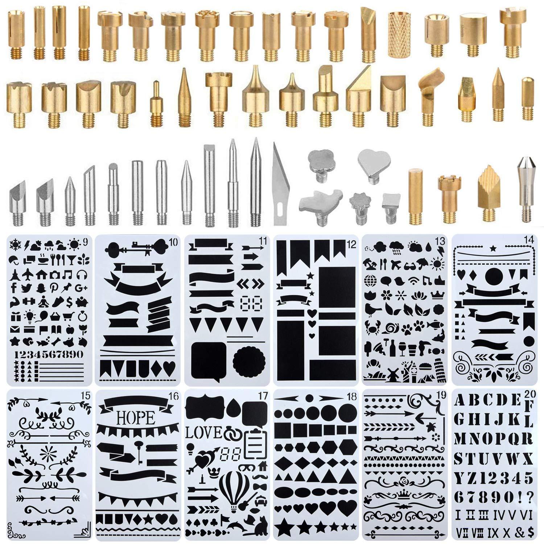 Kit de soldador, puntas de pluma para quemar madera, incluye kit de cabezal de grabado 53pcs y kit de plantilla de plantilla de dibujo de calado de ...
