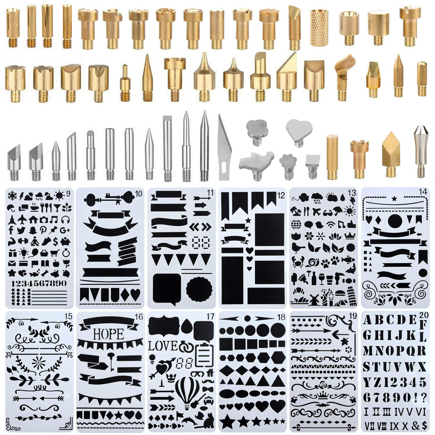 Uhbgt Wood Burning Accessories 65 Pcs Tip Stencil Soldering Iron Pyrography Working Carving Engraving Craft Tools For Buy Online In Jamaica At Desertcart