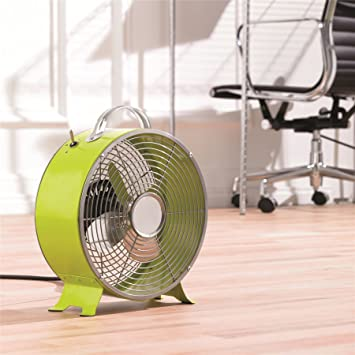 Electric 8u0026quot; Lime Green Metal Desk Top Fan Retro Fan 2 Stage Radiator  Fan
