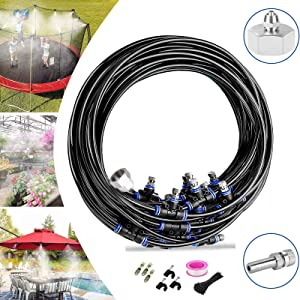 """VICKERT Misting System,Outdoor Mist Cooling System,36ft Misters Cooling System Misting Line+16 Copper Metal Mist Nozzles & a (3/4"""") Metal Connector for Garden Greenhouse Trampoline"""
