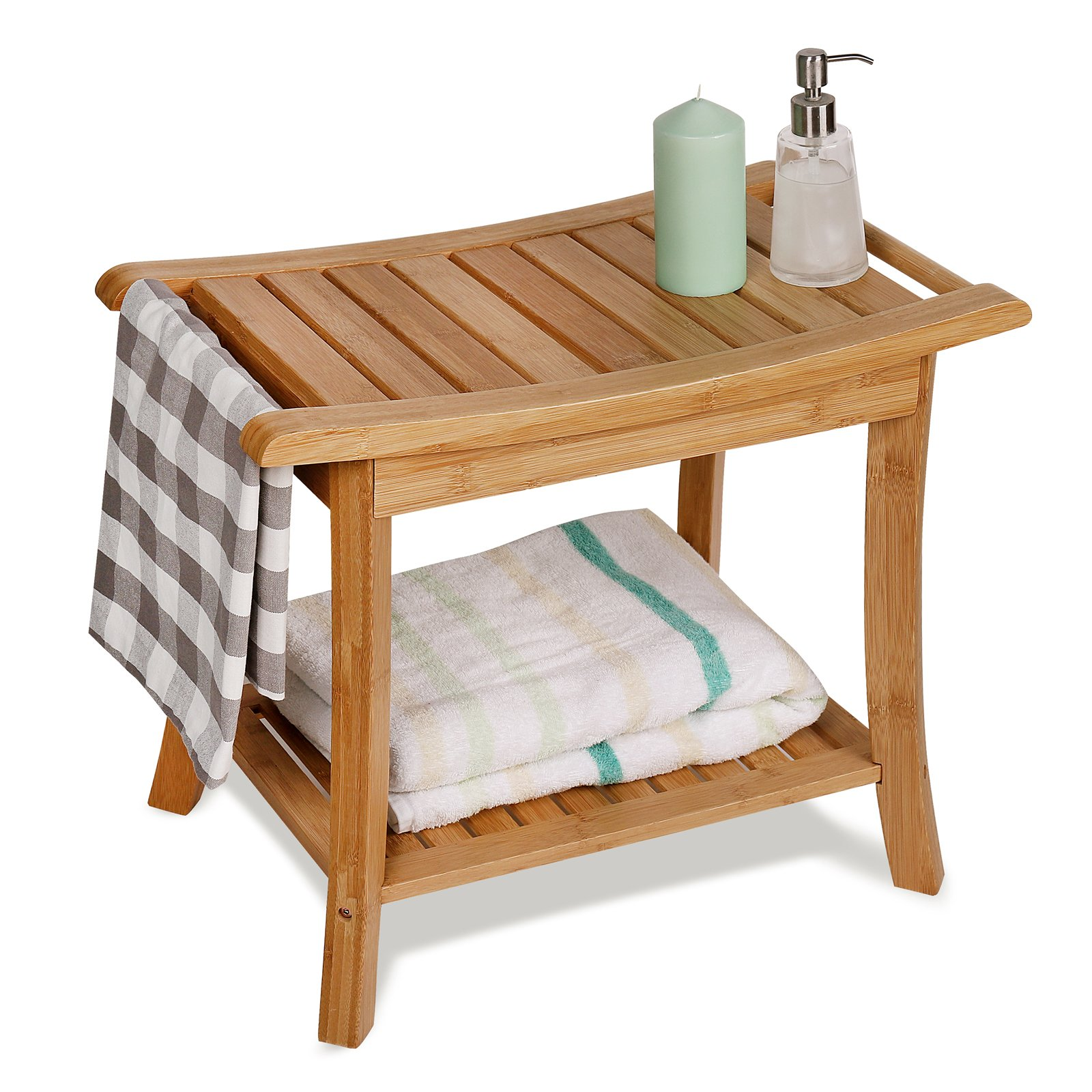WELLAND 24'' Length Shower Bench with Storage Shelf, Bamboo Shower Seat Stool Large, 24'' x 13'' x 18''