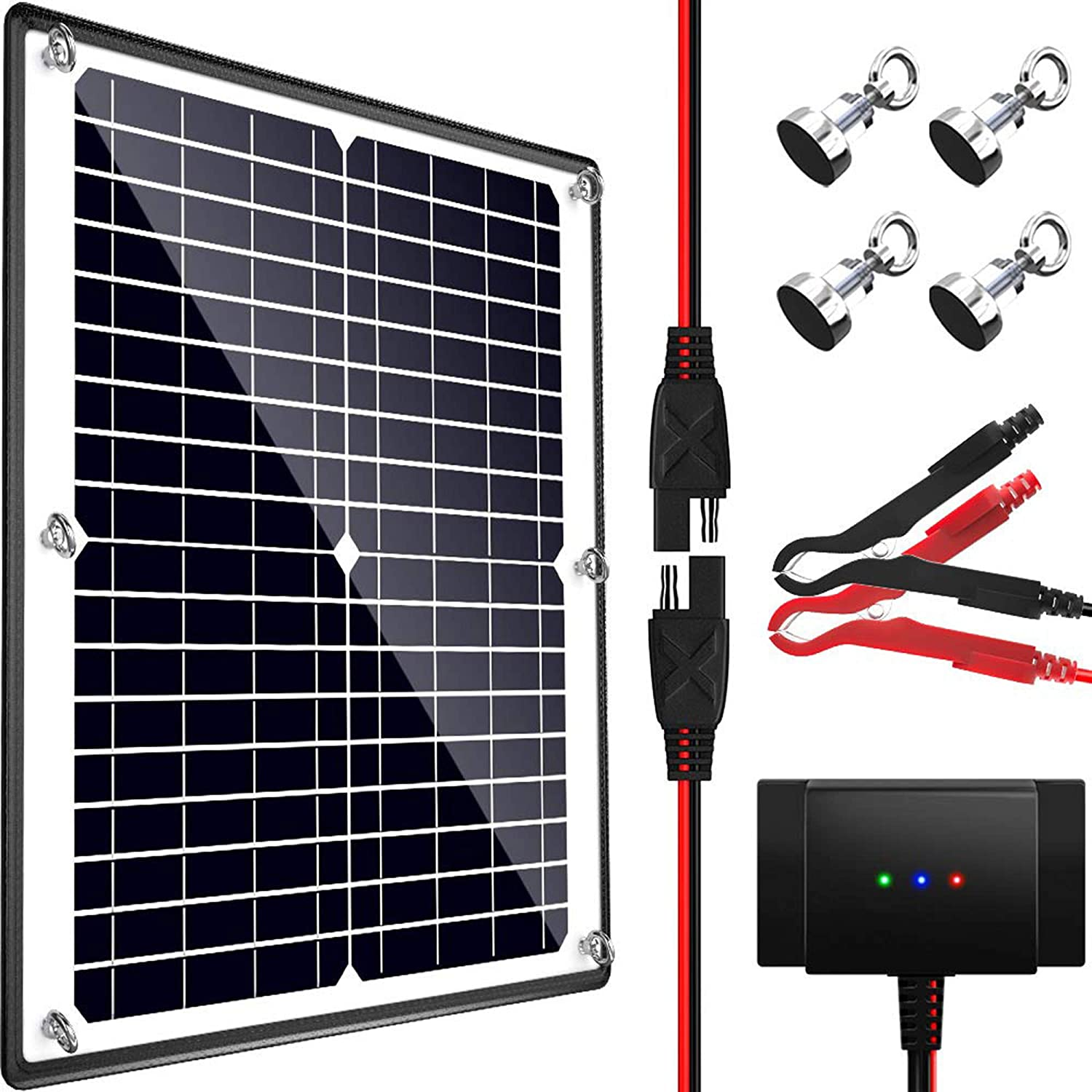POWOXI Solar Panel, 12V 20W Magnetic Solar Battery Charger Maintainer, Bult-in IntelligentCharge Controller, Waterproof Solar Trickle Charger Alligator Clip for Car RV Motorcycle Marine, etc.