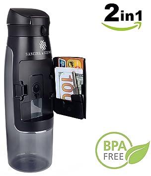Botella con compartimiento de almacenamiento integrado. Botella de agua 2en1, innovadora y práctica, para hacer deporte y la vida cotidiana. Ideal ...