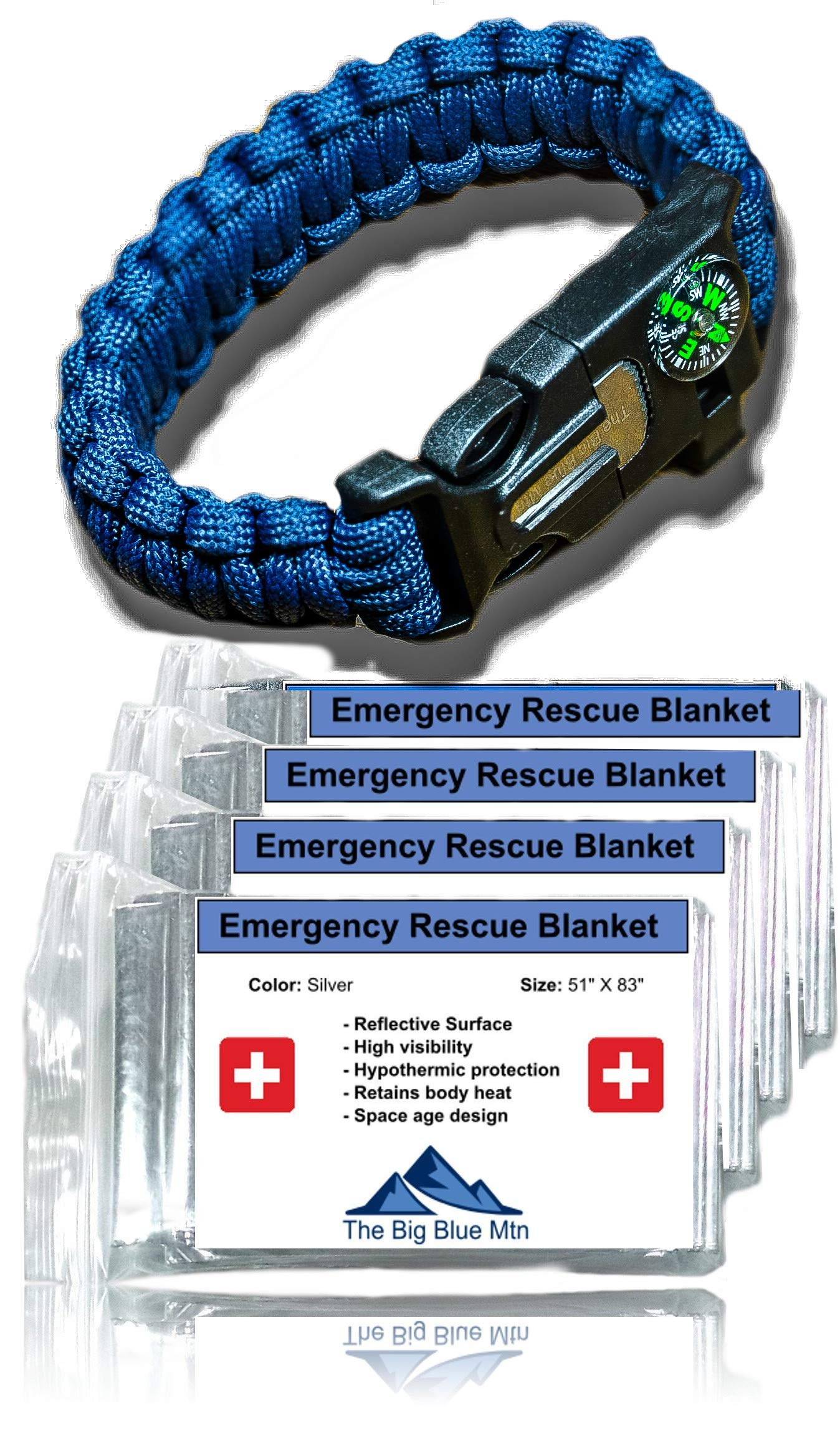 The Big Blue Mtn Emergency Blanket 4 Pack (Silver) + Paracord Survival Bracelet (Navy) Mylar Thermal Foil Space Blankets for Outdoor Camping Hiking Gear