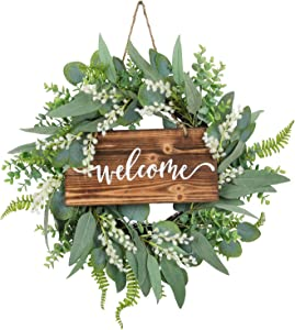 20 Inch Green Eucalyptus Wreath for Front Door- Handicraft Bamboo Frame with Versatile Silk Leaves - Ideal Spring & Summer Decorating for Indoor & Outdoor Use (White)