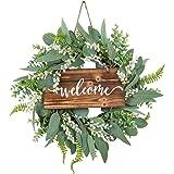 20 Inch Green Eucalyptus Wreath for Front Door- Handicraft Bamboo Frame with Versatile Silk Leaves - Ideal Spring & Summer De