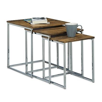 Relaxdays Beistelltische 3er Set Couchtisch Holz Metall Satztische Modernes Design Hxbxt Ca 42 X 40 X 40 Cm Natur
