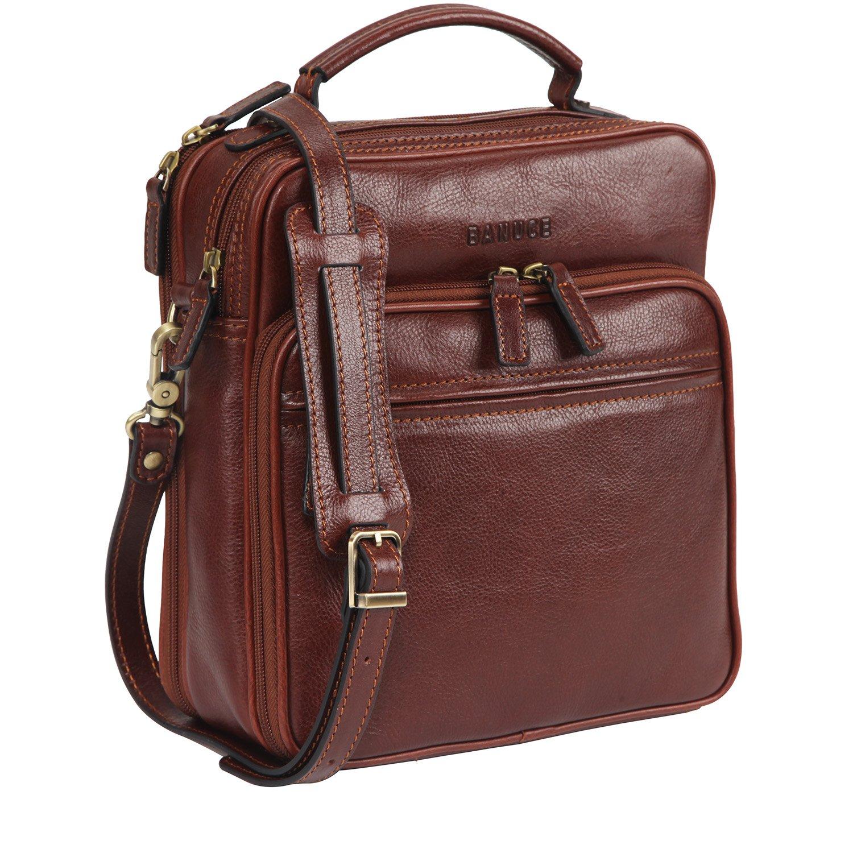 Banuce Small Vintage Leather Messenger Bag for Men 2way Business Tote Shoulder Cross Body Bag Brown