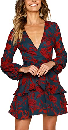 Womens Mini Dress with Flowers V-Neck Long Sleeves Skater Casual