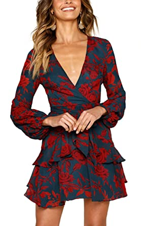 Aromelle Womens Dresses Floral Long Sleeve Wrap V Neck Tie Waist Mini  Skater Dress fb08a897e