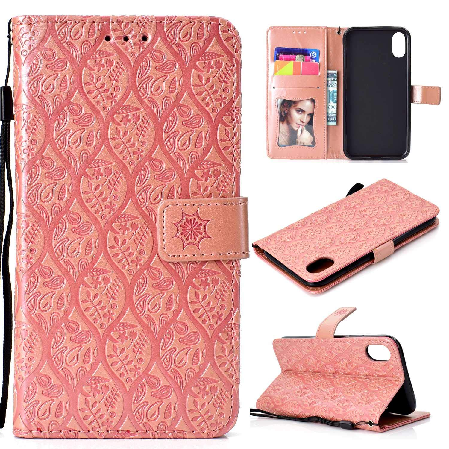 iPhone XR Case, Thrion Premium Leather Flip Case with Stand Cover Advanced PU-Leather Case - Pink