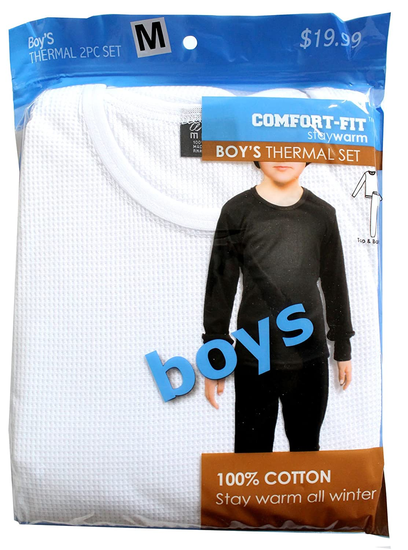 Comfort Fit Winter Boy's Warm Thermal 100% Cotton 2 Pcs Set White Size S, M, L, XL