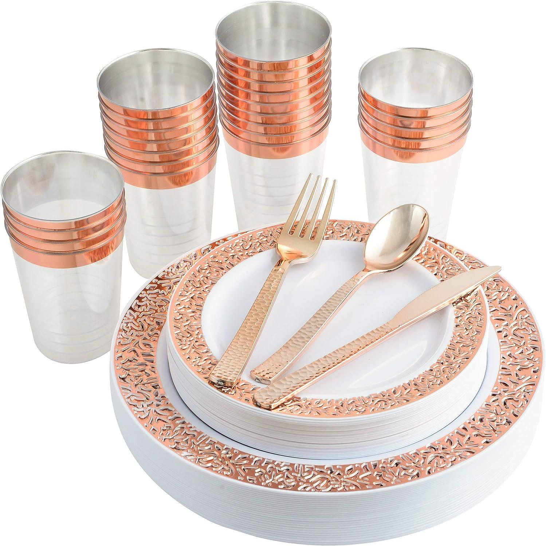 150 Piece Rose Gold Plates /& Plastic Silverware Disposable dinnerware Elegant