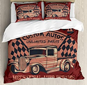 Man Cave Decor Queen Size Duvet Cover Set by Ambesonne, North Truck Mechanical Auto Repairs Custom Autos Vintage Advertising, Decorative 3 Piece Bedding Set with 2 Pillow Shams, Ruby Coral Black