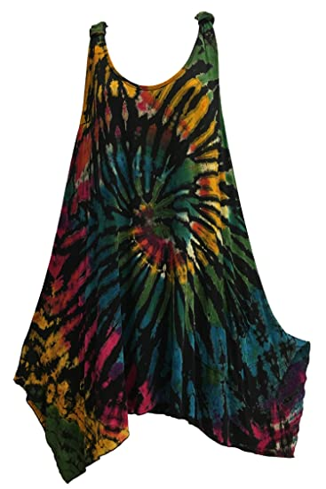 3c0a32d7283f4 Missy Plus Spandex Yoga Clothing Hippie Tie-Dye Tank Top Blouse Tunic Dress  (No3) at Amazon Women s Clothing store