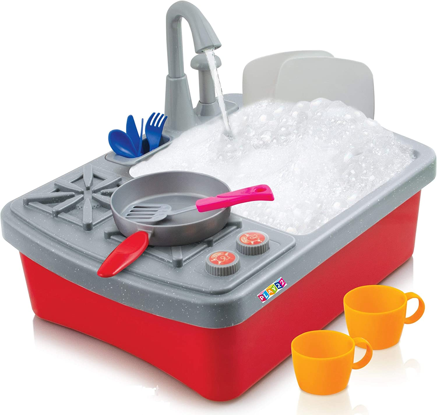 Play22 Kitchen Sink Toy 17 Set - Play Sink Play House Pretend Toy Kitchen Sink with Running Water - Kids Toy Sink with Real Faucet & Drain, Dishes, Utensils & Stove - Kitchen Toys for Toddlers & Kids