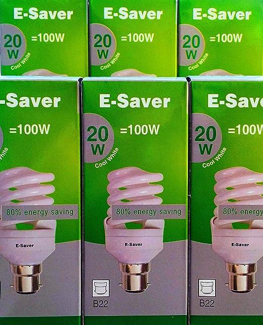 BC, B22, B22d Dur/ée de vie de 10 000h 1150 lumens T2 Lampe fluorescente compacte 20w = 100 watts Blanc froid 4200 K Capuchon /à ba/ïonnette CFL E-Saver Full Spiral Paquet de 6