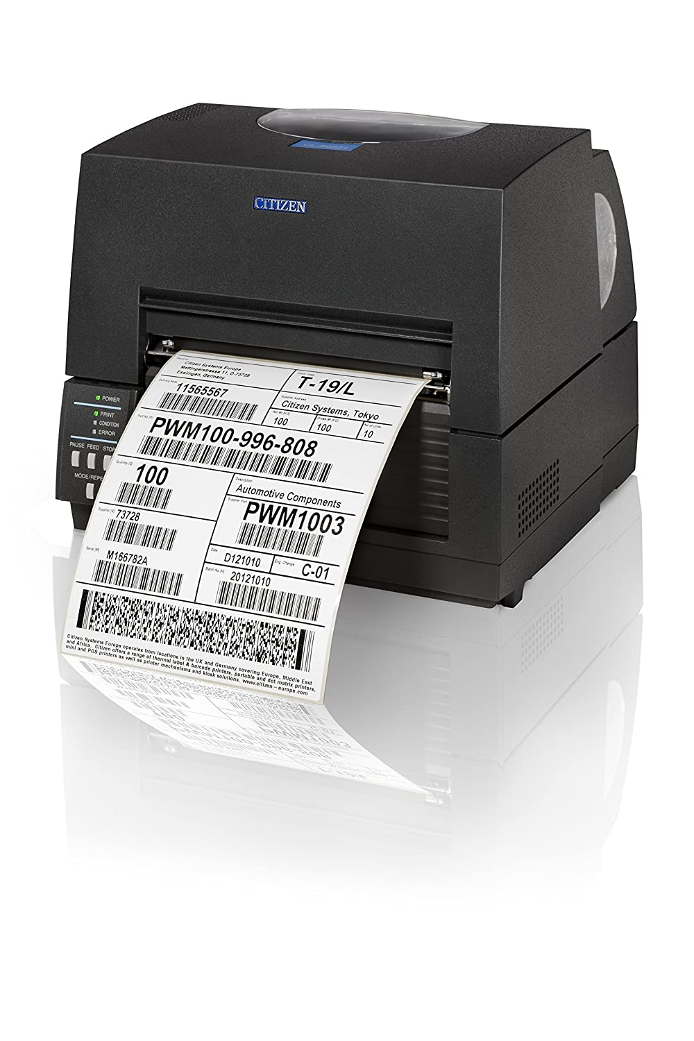 Citizen CL-S6621  schwarz  –   Label Etiketten (150  mm/s, 12,5  cm, Ethernet, Parallel, Wireless LAN, schwarz)