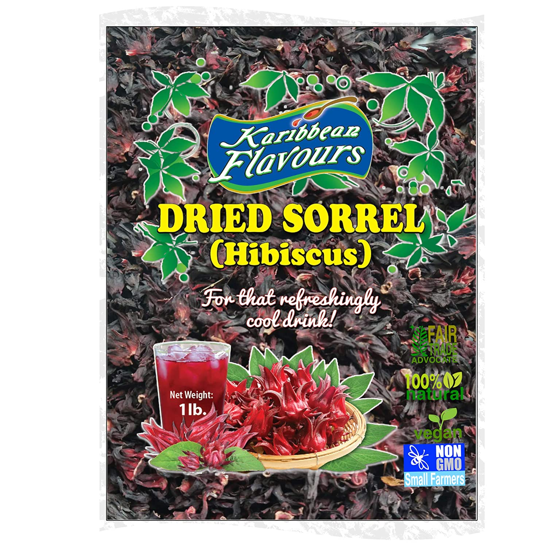 Sorrel Hibiscus Flowers (1 Lb) Herbal Tea Whole Petal 16 Oz - 100% Natural Dried Raw - Non GMO - Vegan - USFDA Inspected - Makes Refreshing Iced Tea Or Hot Tea
