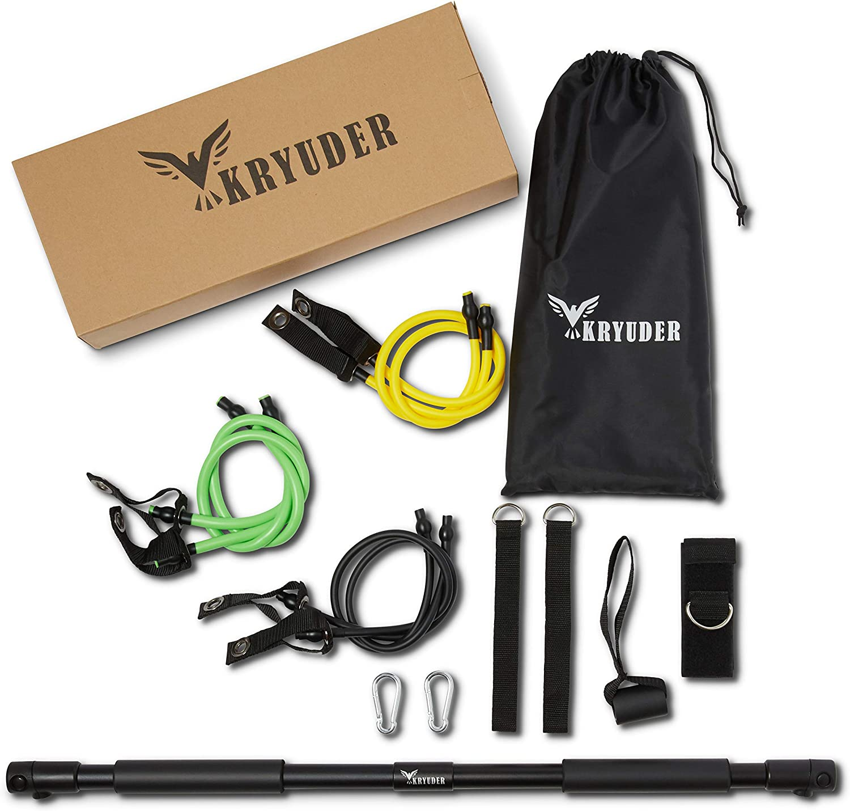 KRYUDER Pilates Exercise Equipment - 8 Pieces Set - Pilates Bar - 3 Resistance Bands - Ankle Straps - Door Anchor - Lightweight - At-Home Workout - Unisex - FREE Storage Bag