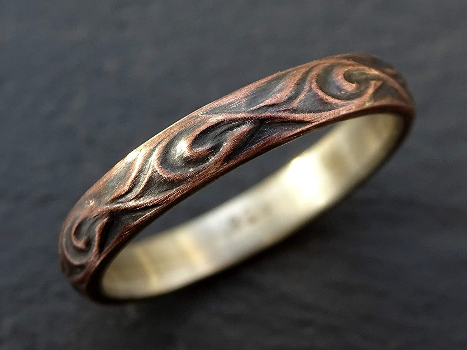 Amazon Com Copper Silver Wedding Ring Textured Copper Ring